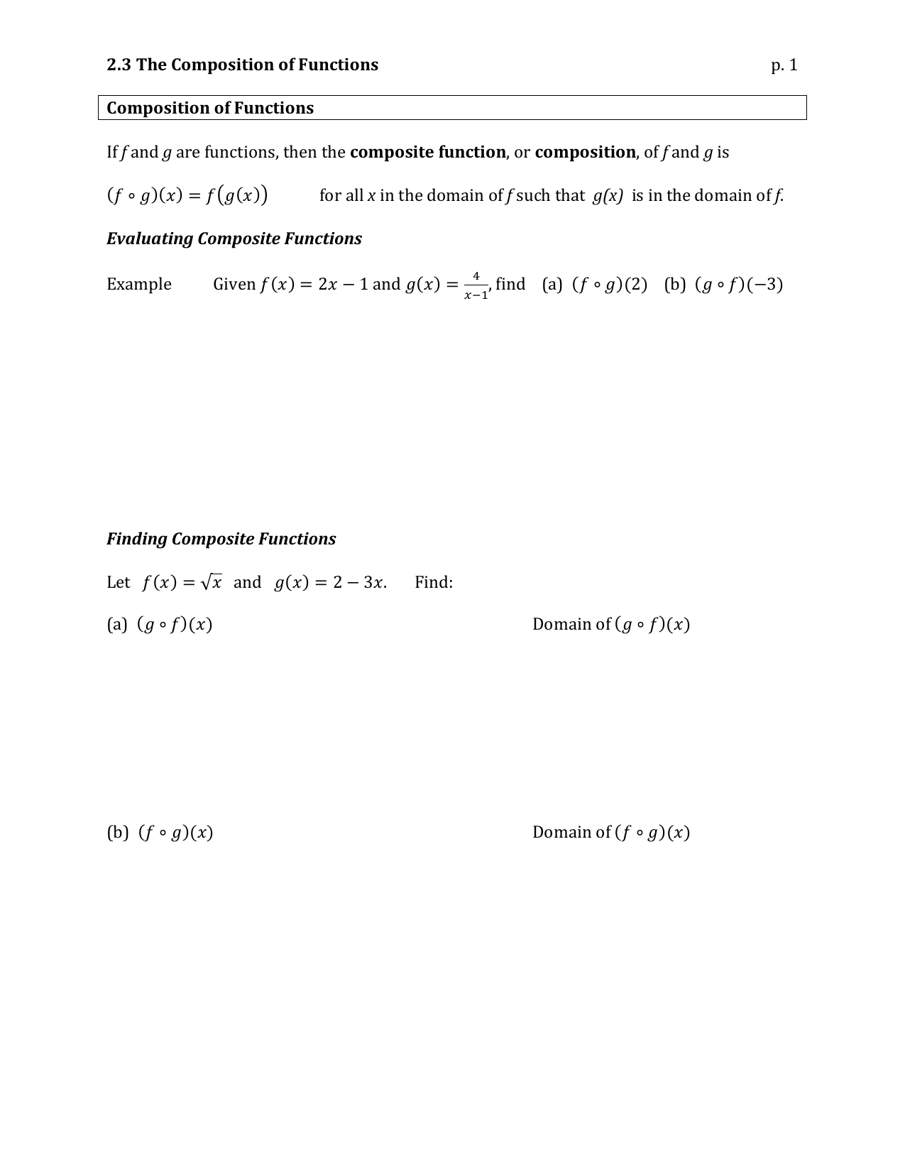 255 25.25 F25 Notes In Composition Of Functions Worksheet