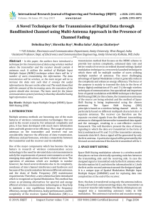 IRJET-    A Novel Technique for the Transmission of Digital Data through Bandlimited Channel using Multi-Antenna Approach in the Presence of Channel Fading