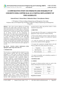 IRJET-    A Comparative Study on Strength and Durability of Concrete using Copper Slag as a Partial Replacement of Fine Aggregate