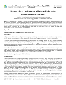 IRJET-    Literature Survey on Hardware Addition and Subtraction