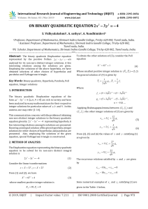 IRJET-On Binary Quadratic Equation 2x2-3y2=-4