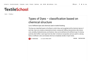 Types of Dyes - classification based on chemical structure