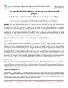 IRJET-    Theoretical Study of the Biodegradable and Non-Biodegradable Segregator