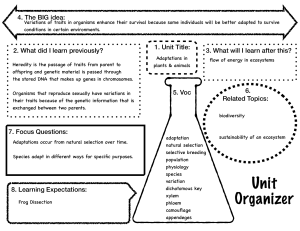 unit organizer for adaptations of plants and animals