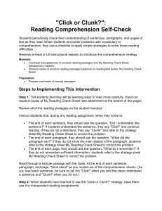 Click or Clunk Reading Comprehension and Reading Strategies Bookmarks
