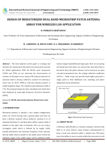 IRJET-Design of Miniaturized Dual Band Microstrip Patch Antenna Array for Wireless Lan Application