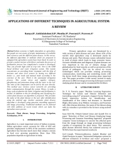 IRJET-Applications of different Techniques in Agricultural System: A Review