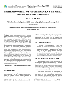IRJET-    Investigation on Delay and Power Minimization in IEEE 802.15.4 Protocol using CSMA-CA Algorithm