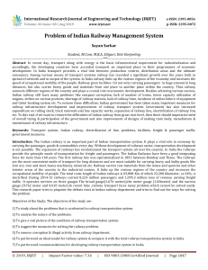 IRJET-    Problem of Indian Railway Management System