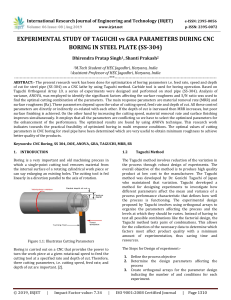 IRJET-Experimental Study of Taguchi Vs GRA Parameters During CNC Boring in Steel Plate (SS-304)