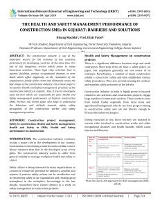 IRJET-The Health and Safety Management Performance of Construction Smes in Gujarat: Barriers and Solutions