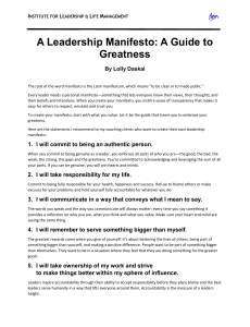 A Leadership Manifesto: A Guide To Greatness