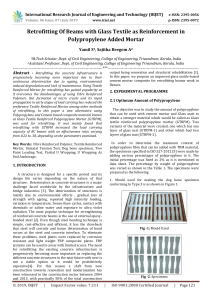 IRJET-    Retrofitting of Beams with Glass Textile as Reinforcement in Polypropylene Added Mortar