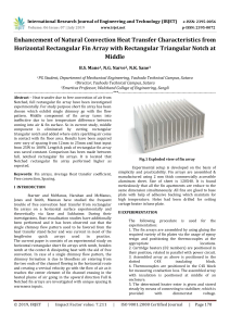 IRJET-Enhancement of Natural Convection Heat Transfer Characteristics from Horizontal Rectangular< Fin Array with Rectangular Triangular Notch at Middle