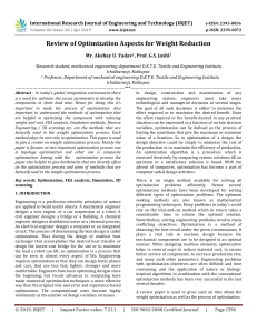 IRJET-Review of Optimization Aspects for Weight Reduction
