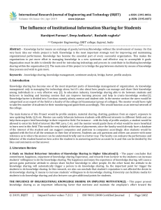 IRJET-The Influence of Institutional Information Sharing for Students