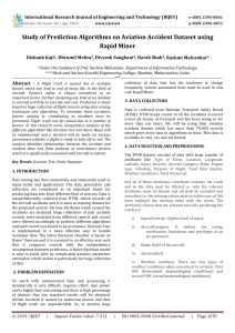 IRJET-Study of Prediction Algorithms on Aviation Accident Dataset using Rapid Miner