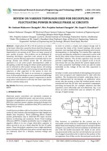IRJET-    Review on Various Topologis used for Decoupling of Fluctuating Power in Single Phase AC Circuits