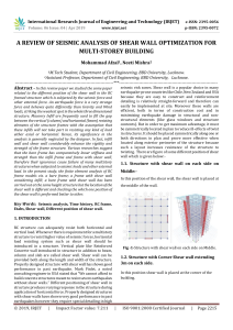 IRJET-    A Review of Seismic Analysis of Shear Wall Optimization for Multi-Storey Building