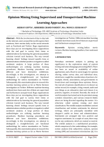 IRJET-    Opinion Mining using Supervised and Unsupervised Machine Learning Approaches