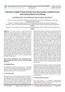 IRJET-Detection of Angle-of-Arrival of the Laser Beam using a Cylindrical Lens and Gaussian Beam Curve Fitting