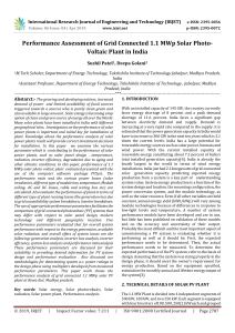 IRJET-    Performance Assessment of Grid Connected 1.1 MWp Solar Photo-Voltaic Plant in India