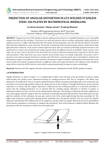 IRJET-    Prediction of Angular Distortion in GTA Welded Stainless Steel 304 Plates by Mathematical Modelling