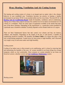 Hvac Heating, Ventilation And Air Coning System