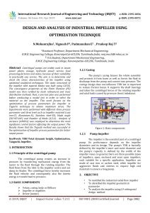 IRJET-    Design and Analysis of Industrial Impeller using Optimization Technique