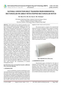 IRJET-    Natural Convection Heat Transfer from Horizontal Rectangular Fin Array with Stepped Rectangular Notch
