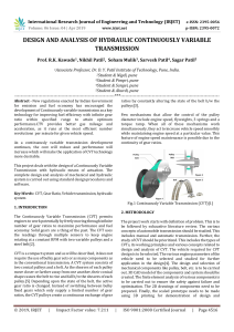 IRJET-    Design and Analysis of Hydraulic Continuously Variable Transmission