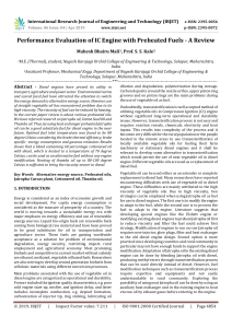 IRJET-Performance Evaluation of IC Engine with Preheated Fuels - A Review