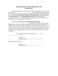 Exercise Room and Equipment Waiver and Indemnification Form