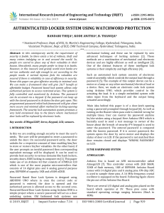 IRJET-    Authenticated Locker System using Watchword Protection