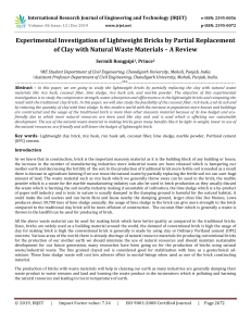 IRJET-Experimental Investigation of Lightweight Bricks by Partial Replacement of Clay with Natural Waste Materials – A Review