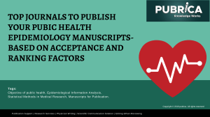 Top Journals to Publish Your Pubic Health Epidemiology Manuscripts- Publication support services