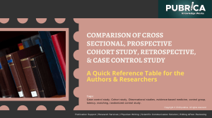 Comparison of Cross Sectional, Prospective Cohort Study, retrospective and Case Control study - Scientific research services