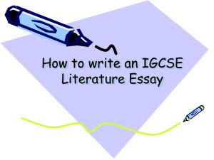 How to write an IGCSE Literature Essay (1)