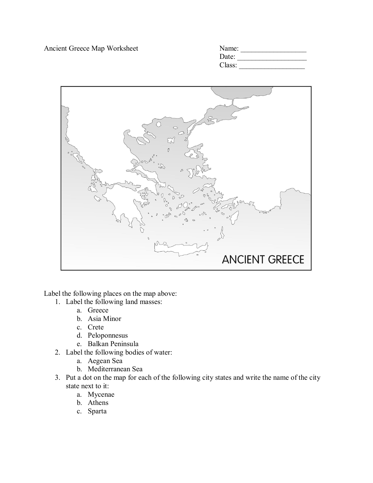 Picture of: Ancient Greece Map Worksheet