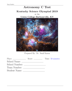 2020 KSO Astronomy C Test Questions and Answers