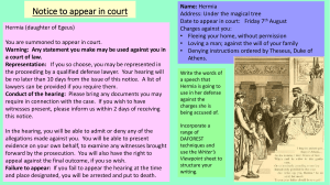 Notice to appear in court Hermia