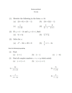 Review Worksheet - unit 1