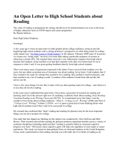 An Open Letter to High School Students about Reading