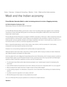 Modi and the Indian economy