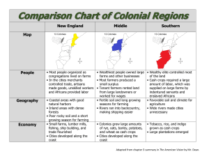 Comparison Chart of Colonial Regions