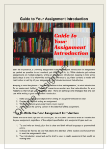 Guide to Your Assignment Introduction