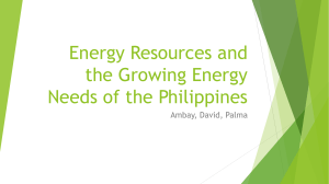 Energy Resources and the Growing Energy Needs of the Philippines