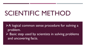 SCIENTIFIC METHOD SCIENCE 7