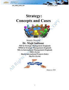 Strategy: Concepts and Cases
