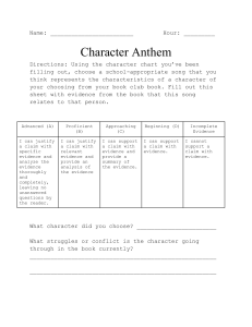 Character Anthem Activity